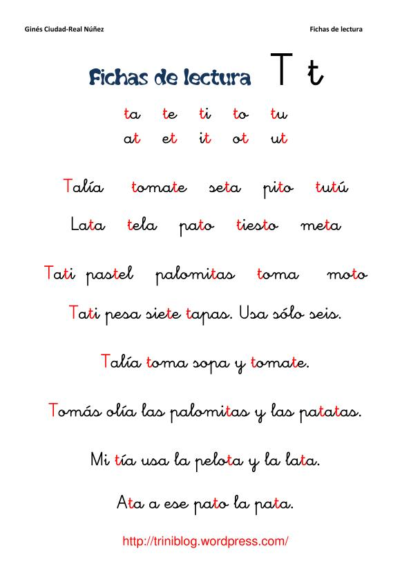Fichas De Lectura Letra T 1 Triniblog