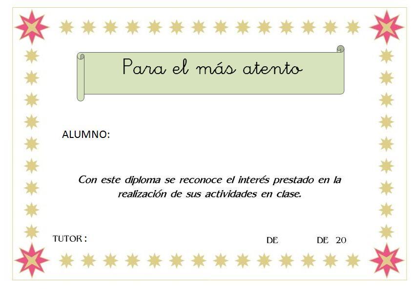 Fichas De Recompensa Autovaloración Y Diplomas Orientacion Andujar