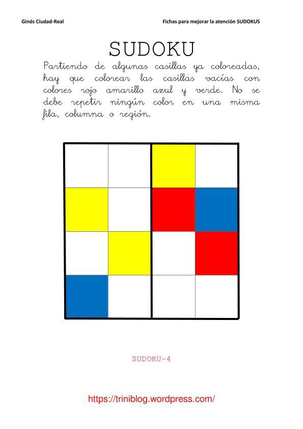 impresión Cenagal hablar  Sudokus de colores | Triniblog
