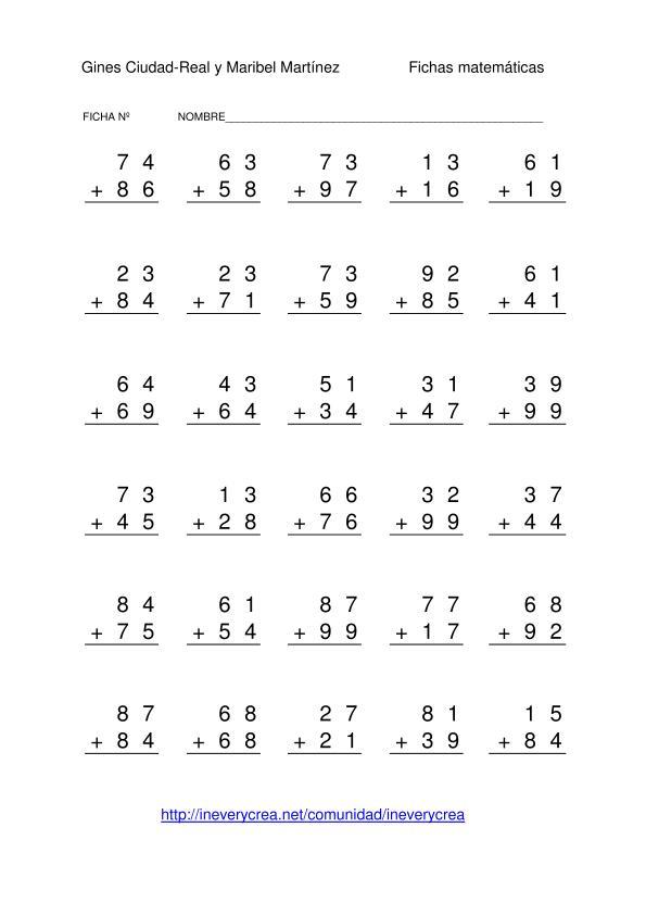 de 1000 fichas de sumas de dos números de dos cifras con llevada